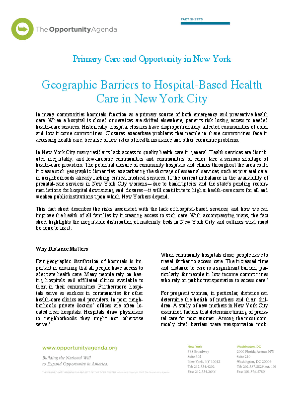 Geographic Barriers to Hospital Based Health Care in New York City