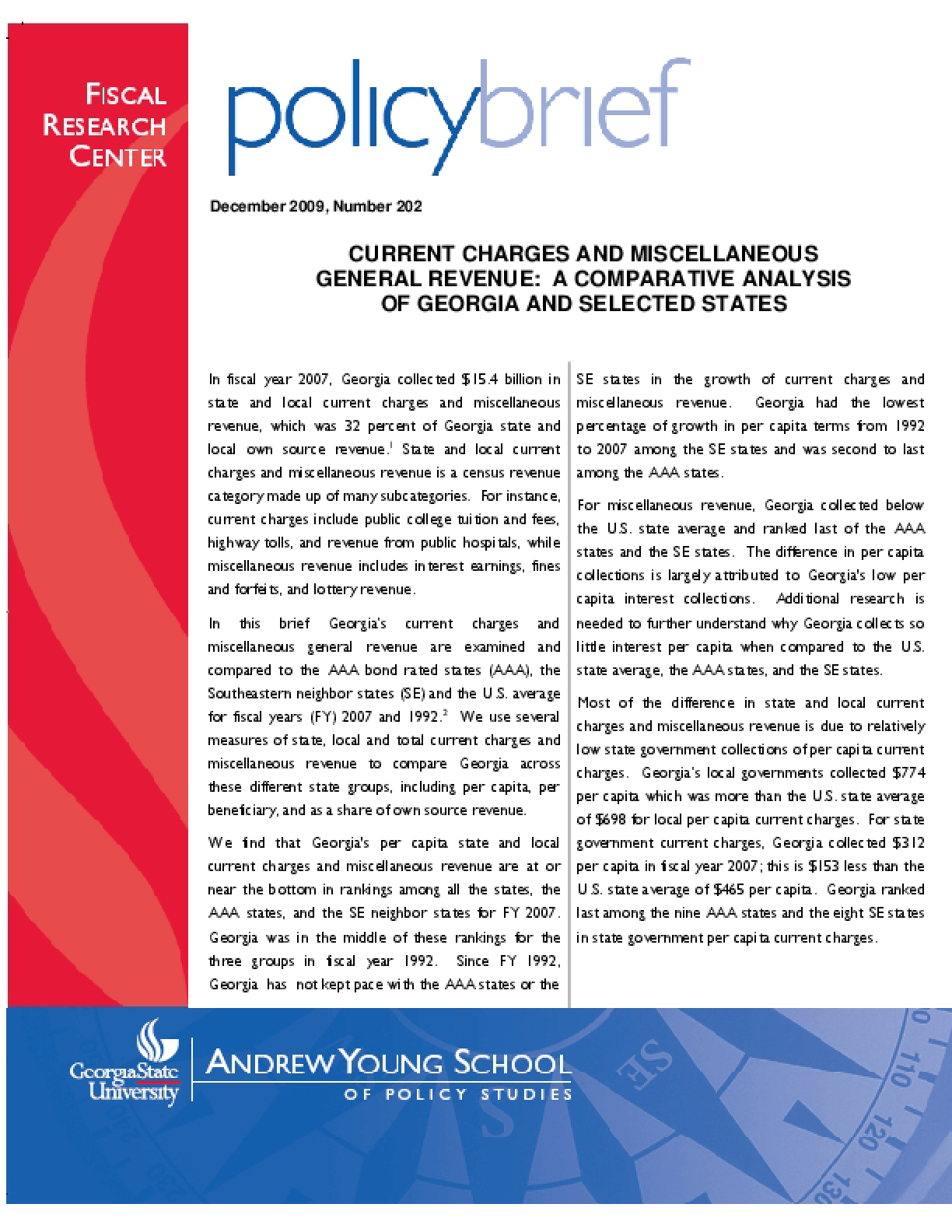 Current Charges and Miscellaneous Revenues: A Comparative Analysis of Georgia and Selective States - Brief