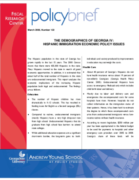 The Demographics of Georgia IV: Hispanic Immigration Economic Policy Issues - Brief