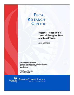 Historic Trends in the Levels of Georgia's State and Local Taxes