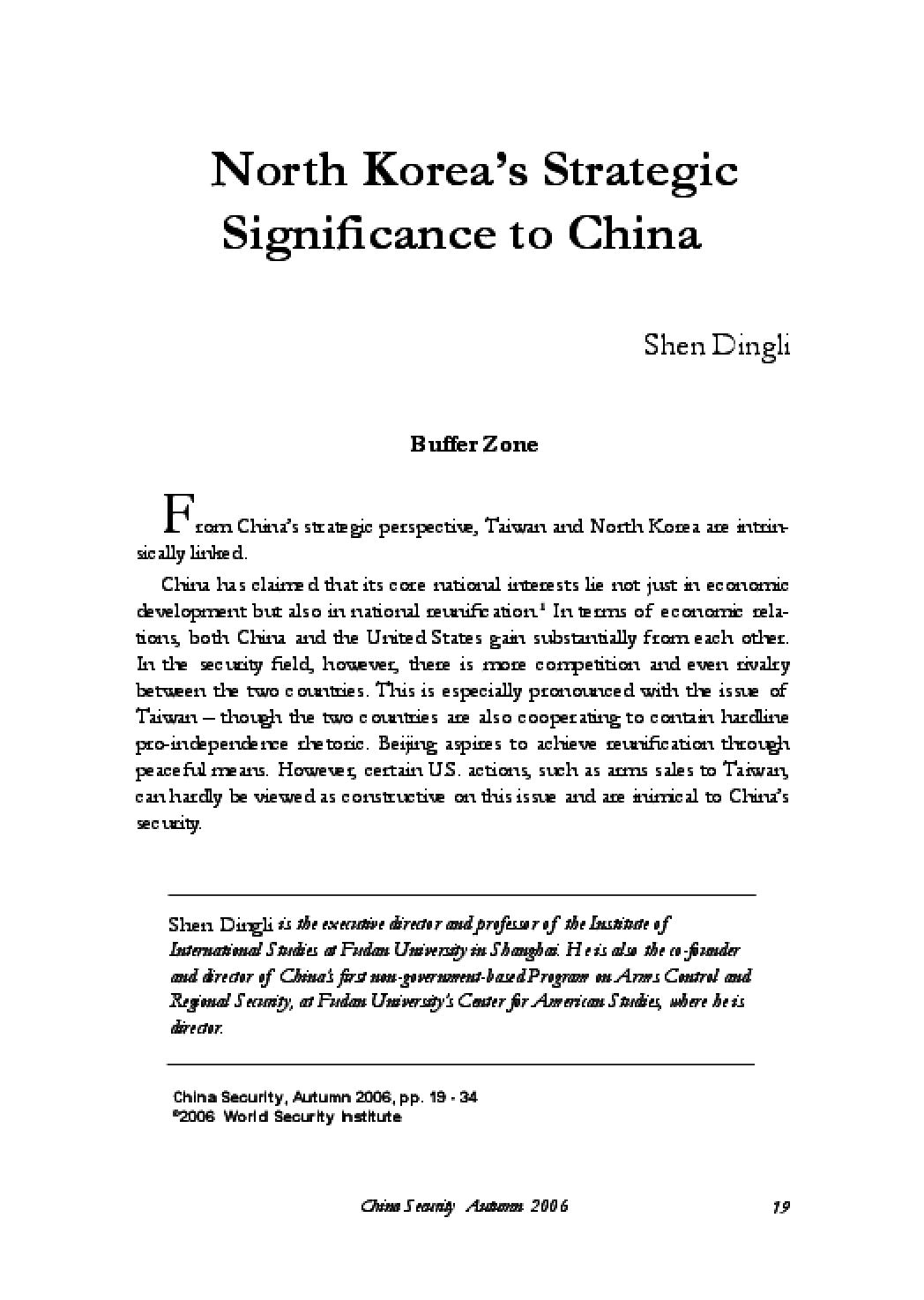 North Korea's Strategic Significance to China