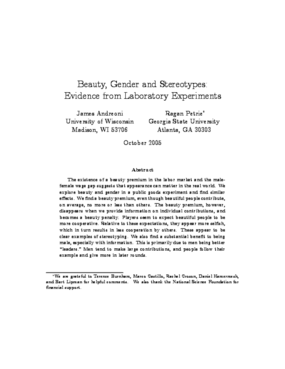 Beauty, Gender and Stereotypes: Evidence from Laboratory Experiments