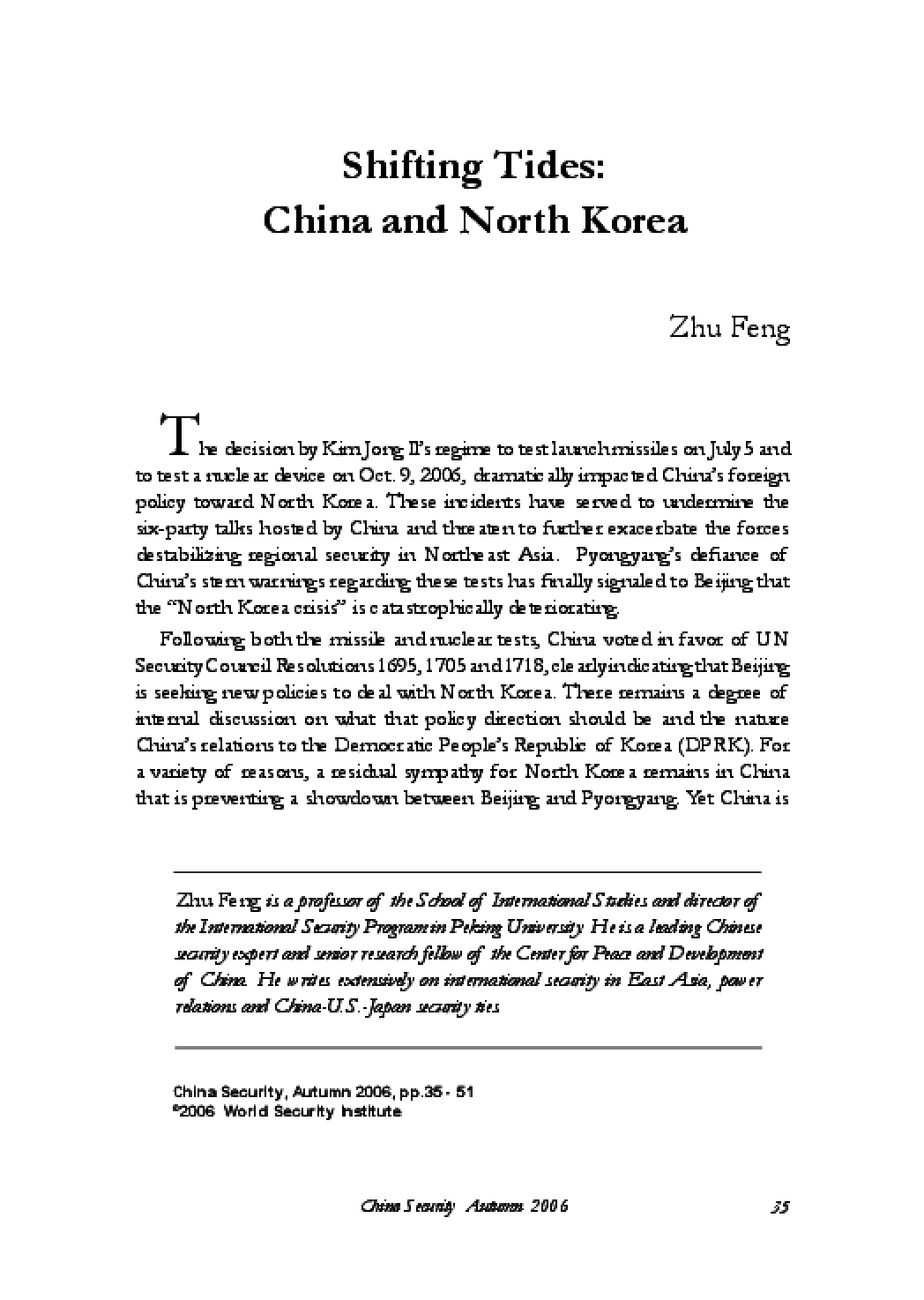 Shifting Tides: China and North Korea