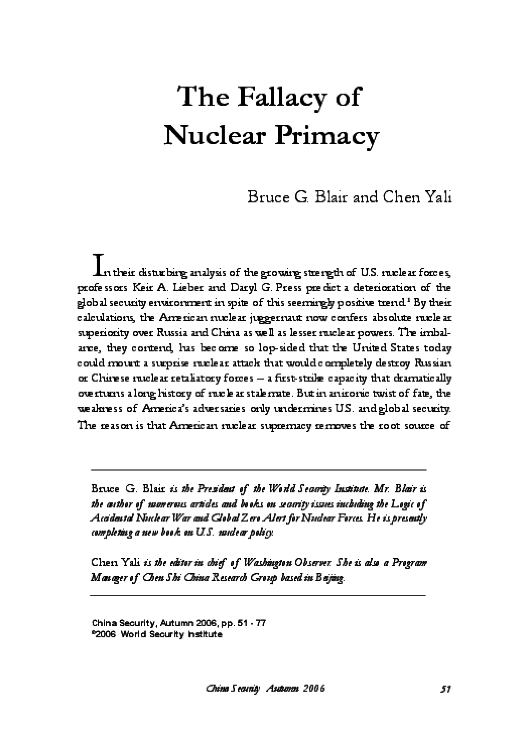 The Fallacy of Nuclear Primacy