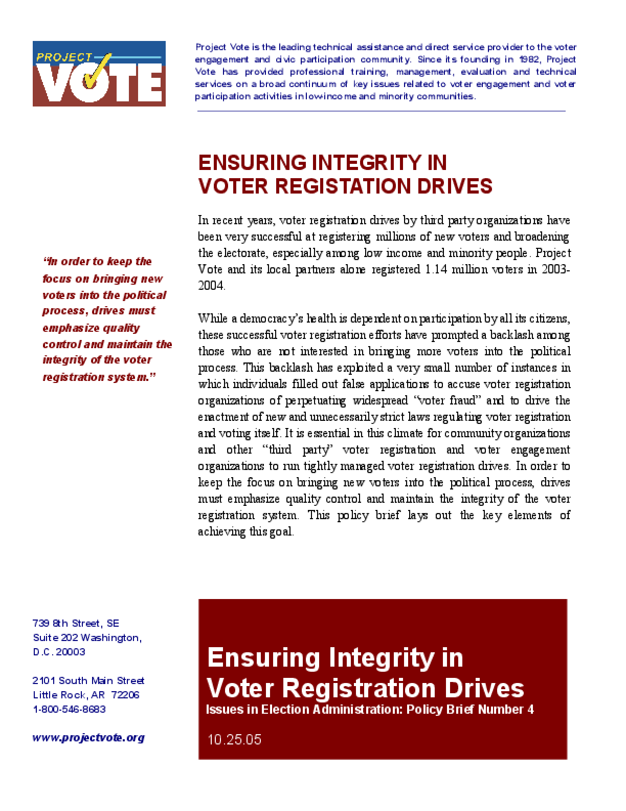 Ensuring Integrity in Voter Registration Drives