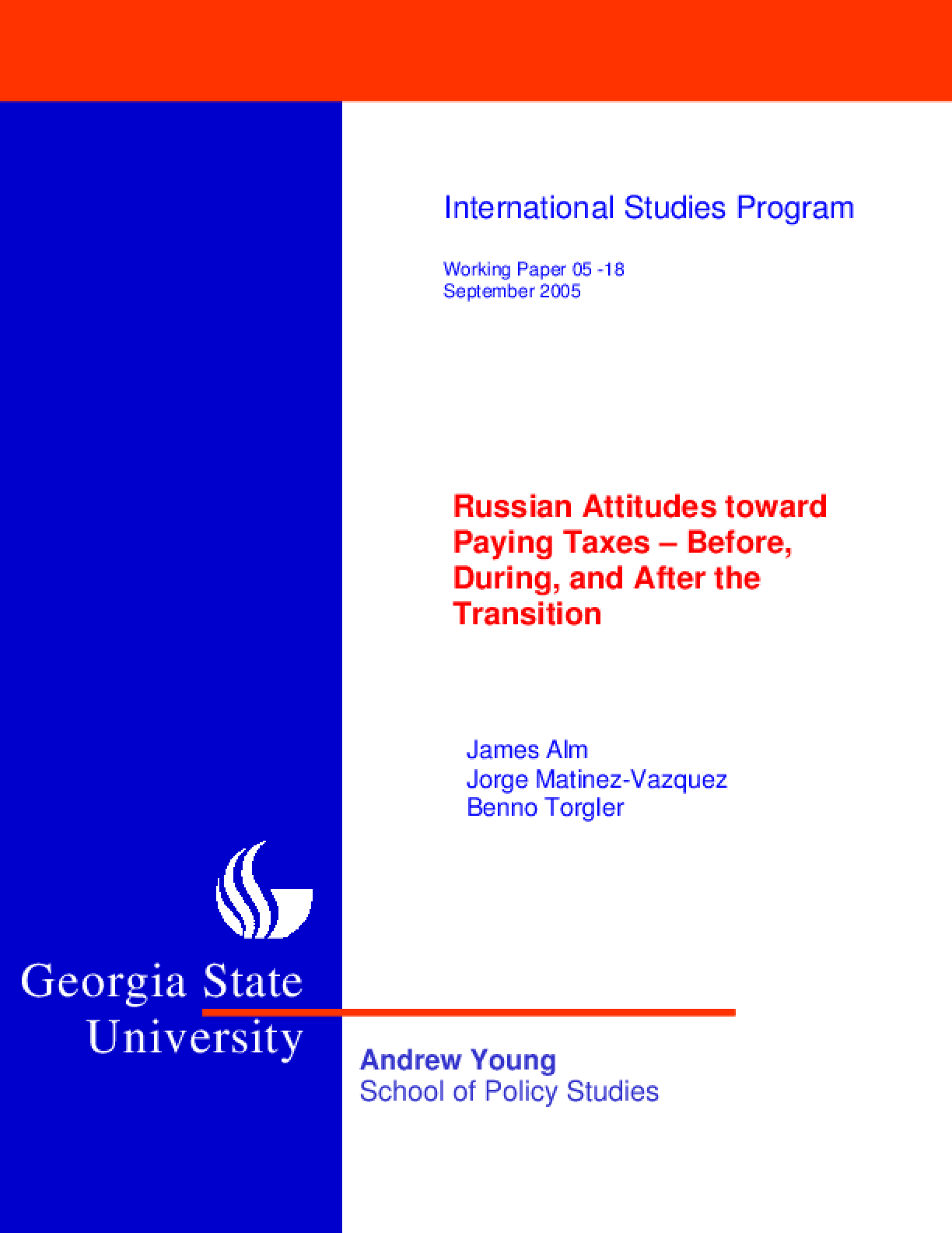 Russian Attitudes Toward Paying Taxes -- Before, During, and After the Transition