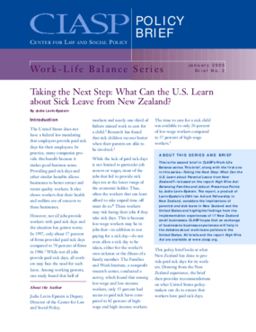 Taking the Next Step: What Can the U.S. Learn about Sick Leave from New Zealand?