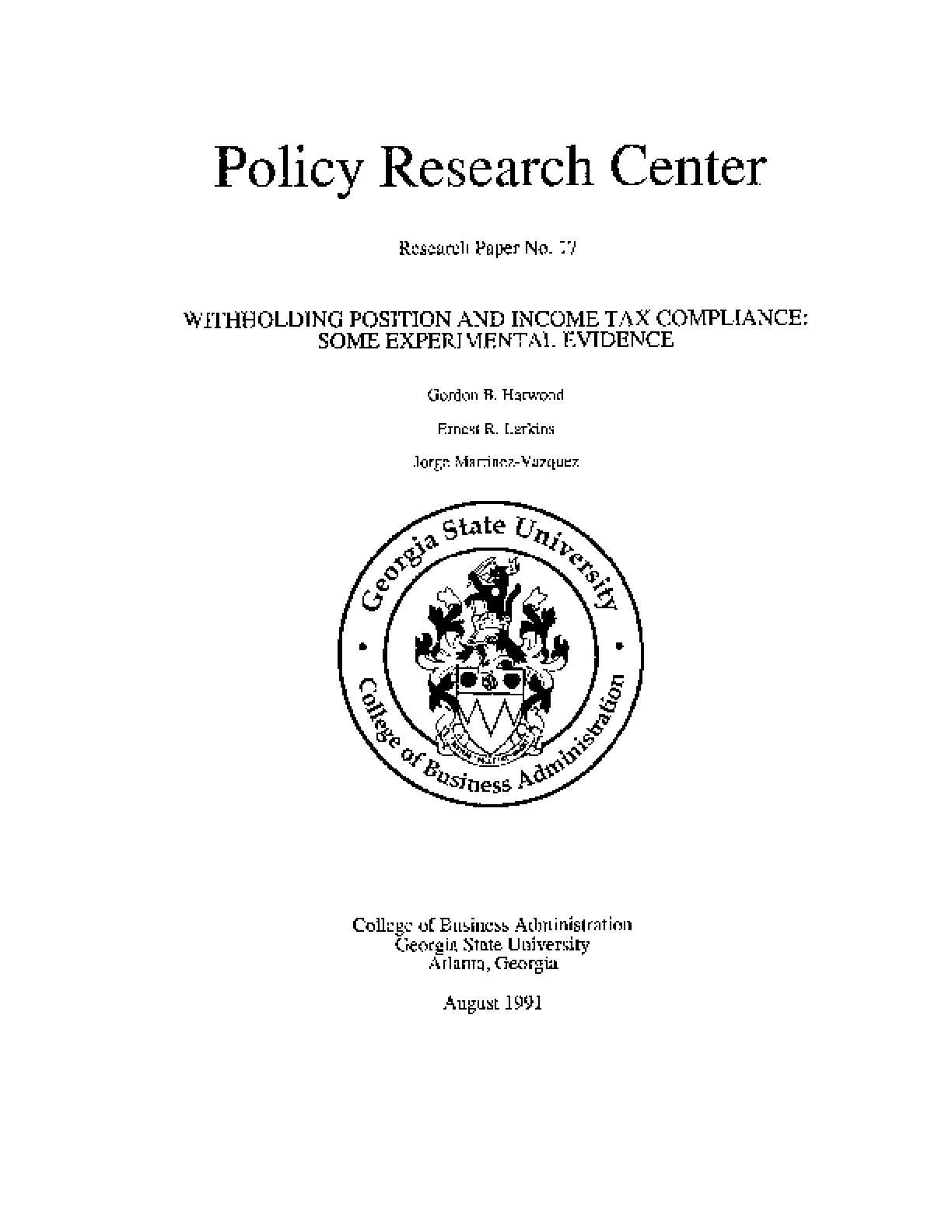 Withholding Position and Income Tax Compliance: Some Experimental Evidence