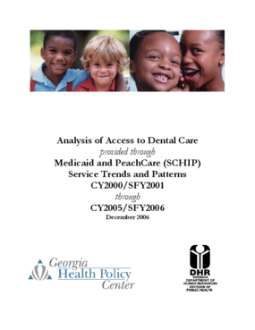 Analysis of Access to Dental Care provided through Medicaid and PeachCare: Service Trends and Patterns CY2000/SFY2001 through CY2005/SFY2006