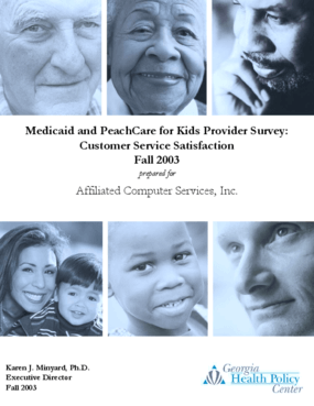 Medicaid and PeachCare for Kids Provider Survey: Customer Service Satisfaction - Fall 2003