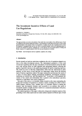 The Investment Incentives Effects of Land Use Regulations