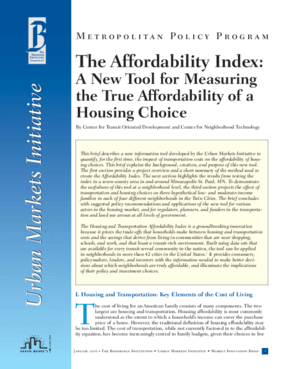 The Affordability Index: A New Tool for Measuring the True Affordability of a Housing Choice