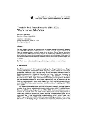 Trends in Real Estate Research, 1988-2001: What's Hot and What's Not