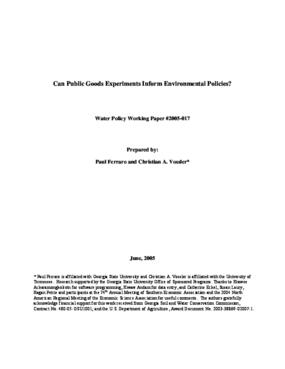 Can Public Goods Experiments Inform Environmental Policies?