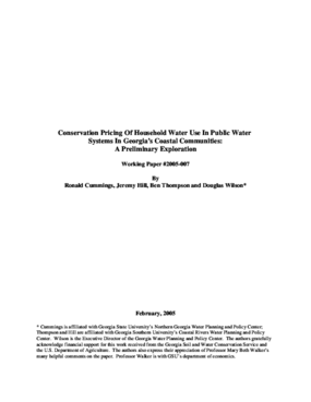 Conservation Pricing Of Household Water Use In Public Water Systems In Georgia's Coastal Communities: A Preliminary Exploration