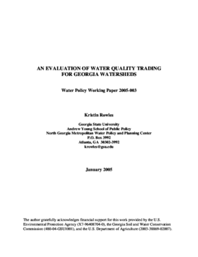 An Evaluation of Water Quality Trading for Georgia Watersheds