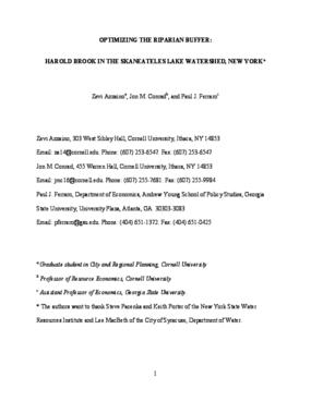 Optimizing The Riparian Buffer: Harold Brook In The Skaneateles Lake Watershed, New York