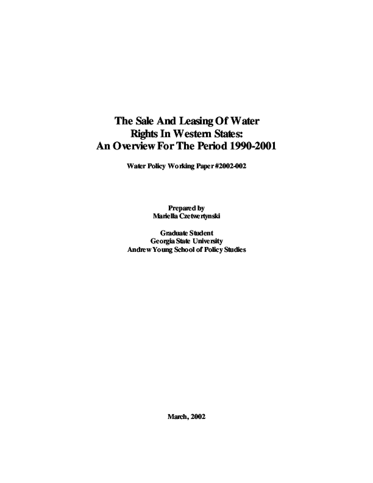 Summary of Water Right Purchases and Leases in the Western States, 1990-2000