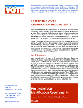 Restrictive Voter Identification Requirements