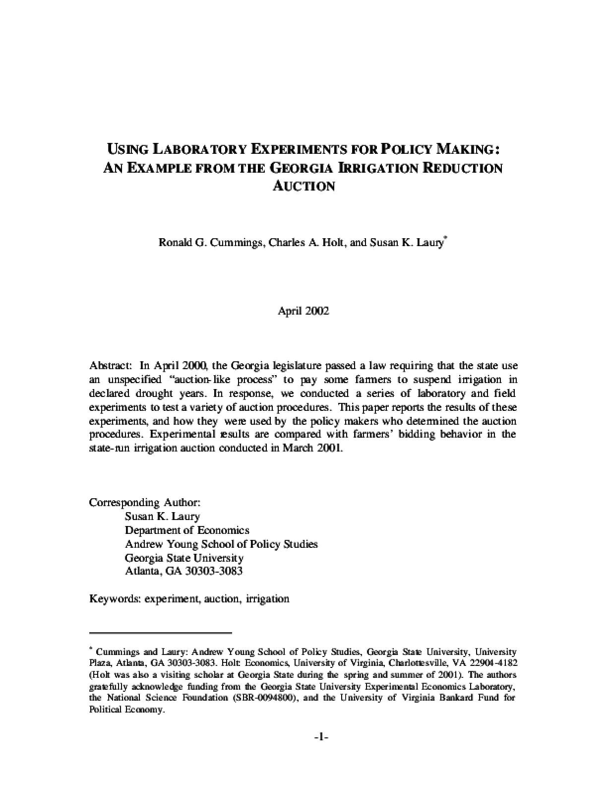 Using Laboratory Experiments For Policy Making: An Example From The Georgia Irrigation Reduction Auction
