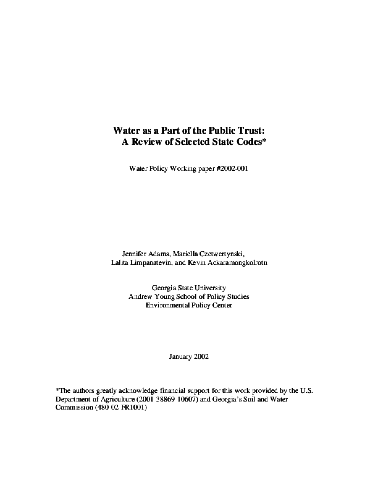 Water as a Part of the Public Trust: A Review of Select State Codes