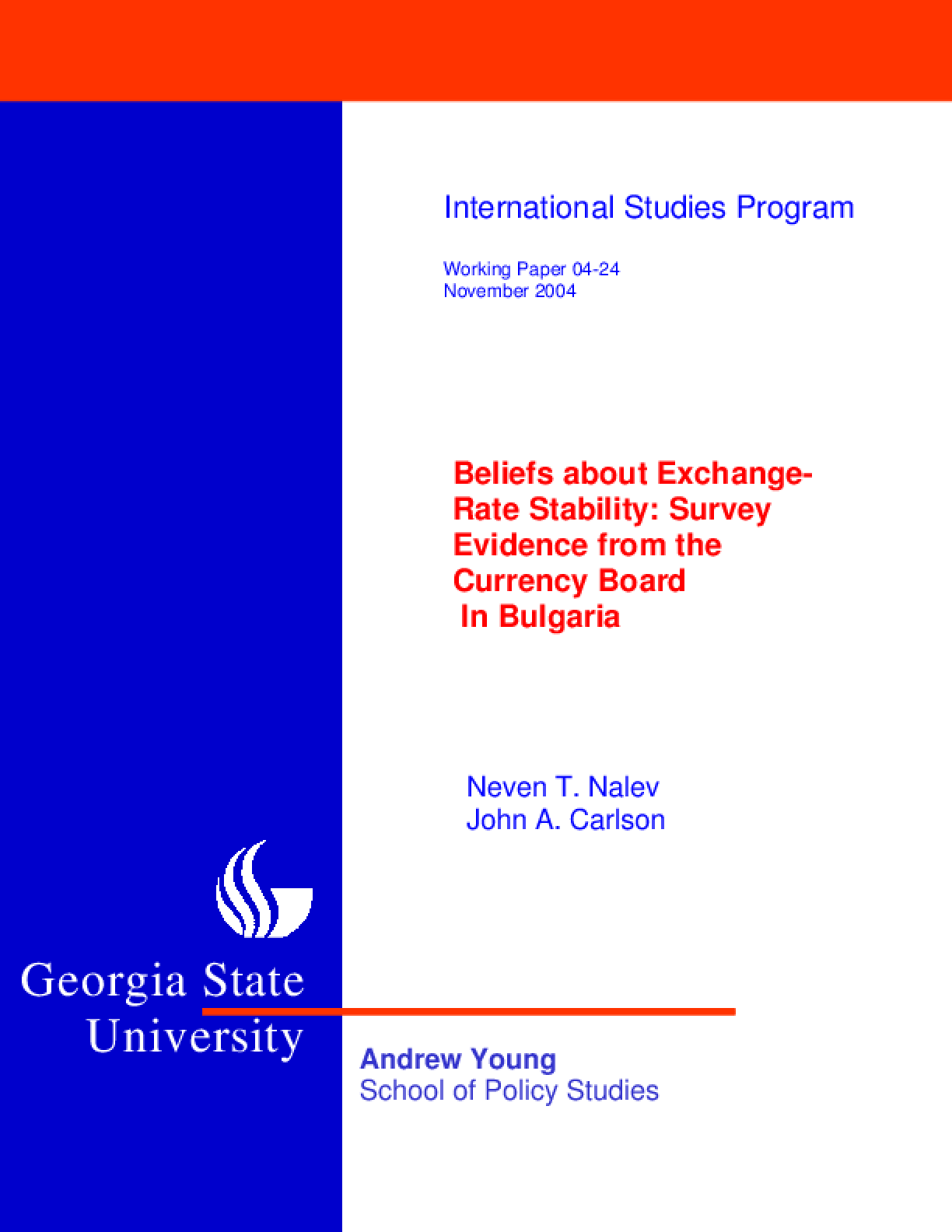 Beliefs about Exchange-Rate Stability: Survey Evidence from the Currency Board in Bulgaria
