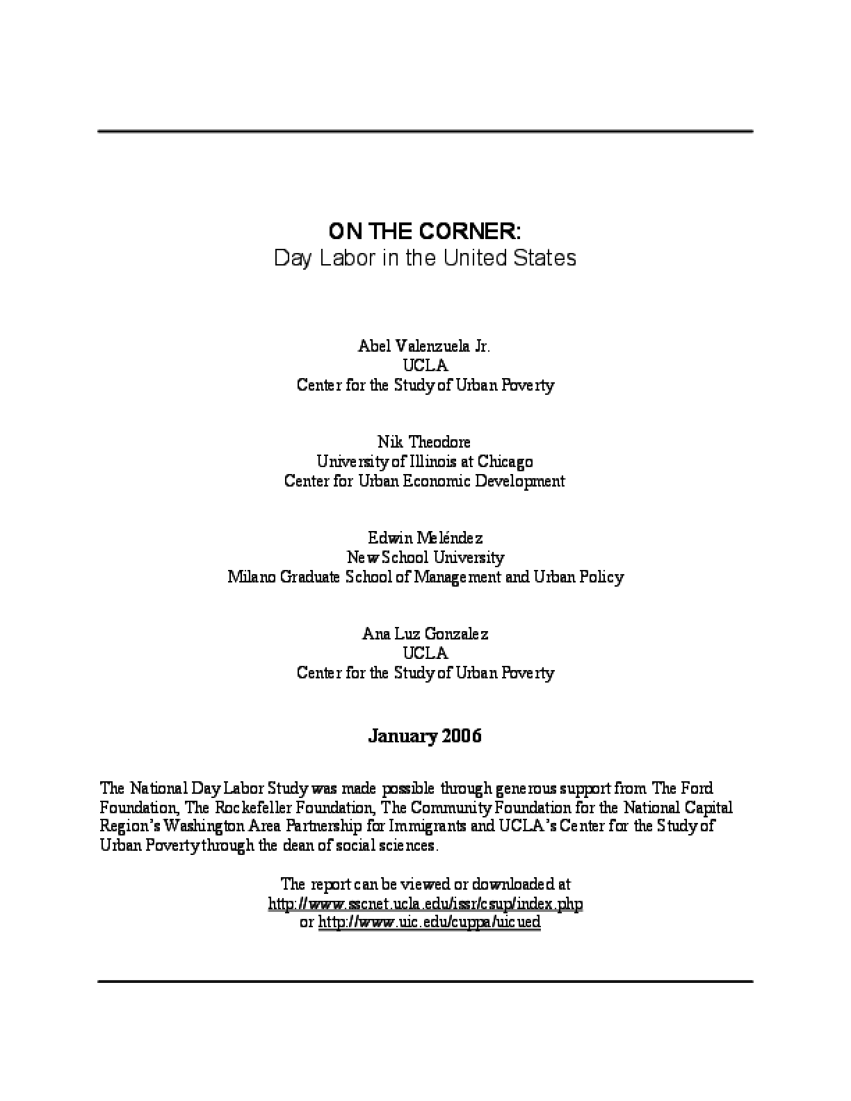 On the Corner: Day Labor in the United States