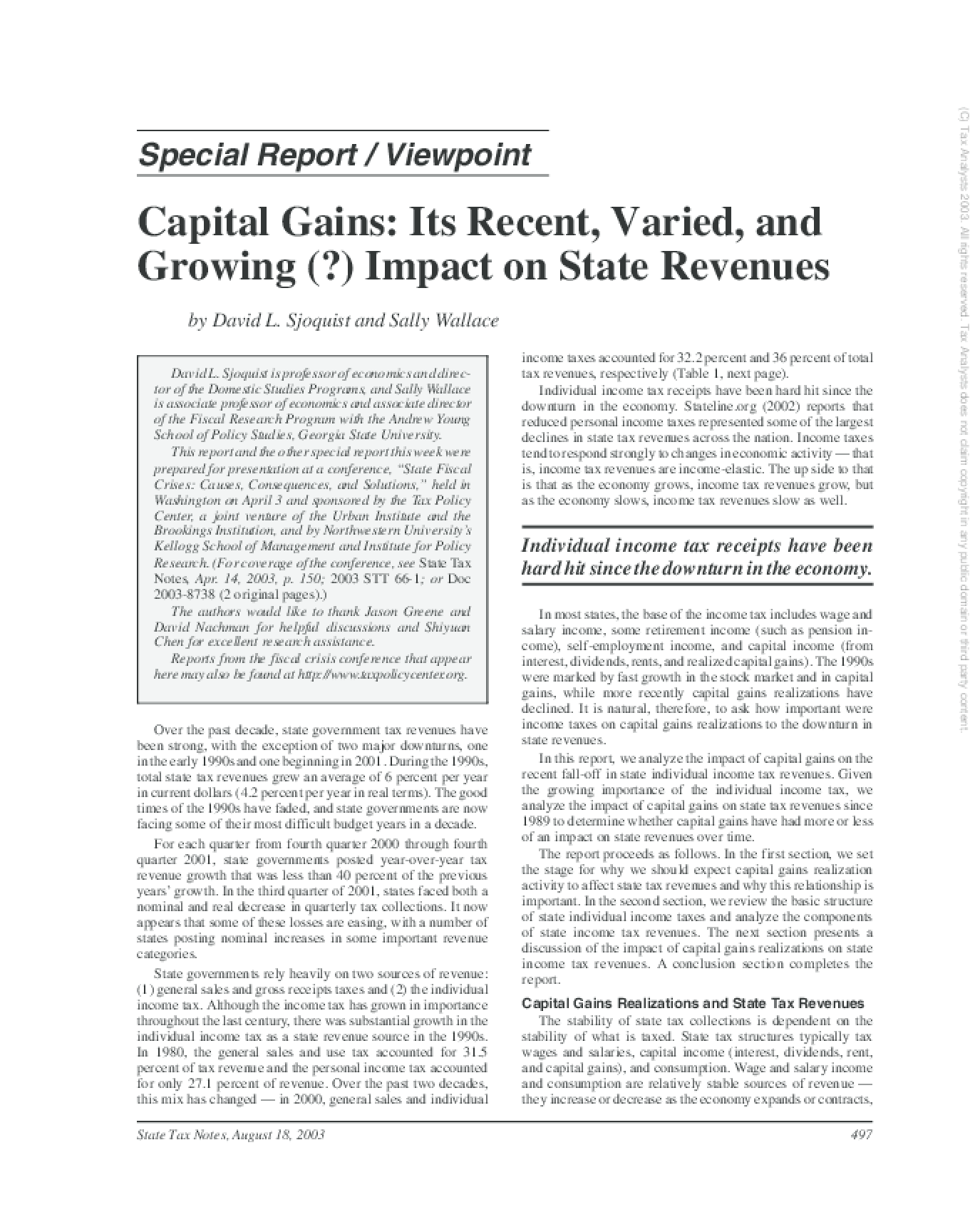 Capital Gains: Its Recent, Varied, and Growing (?) Impact on State Revenues