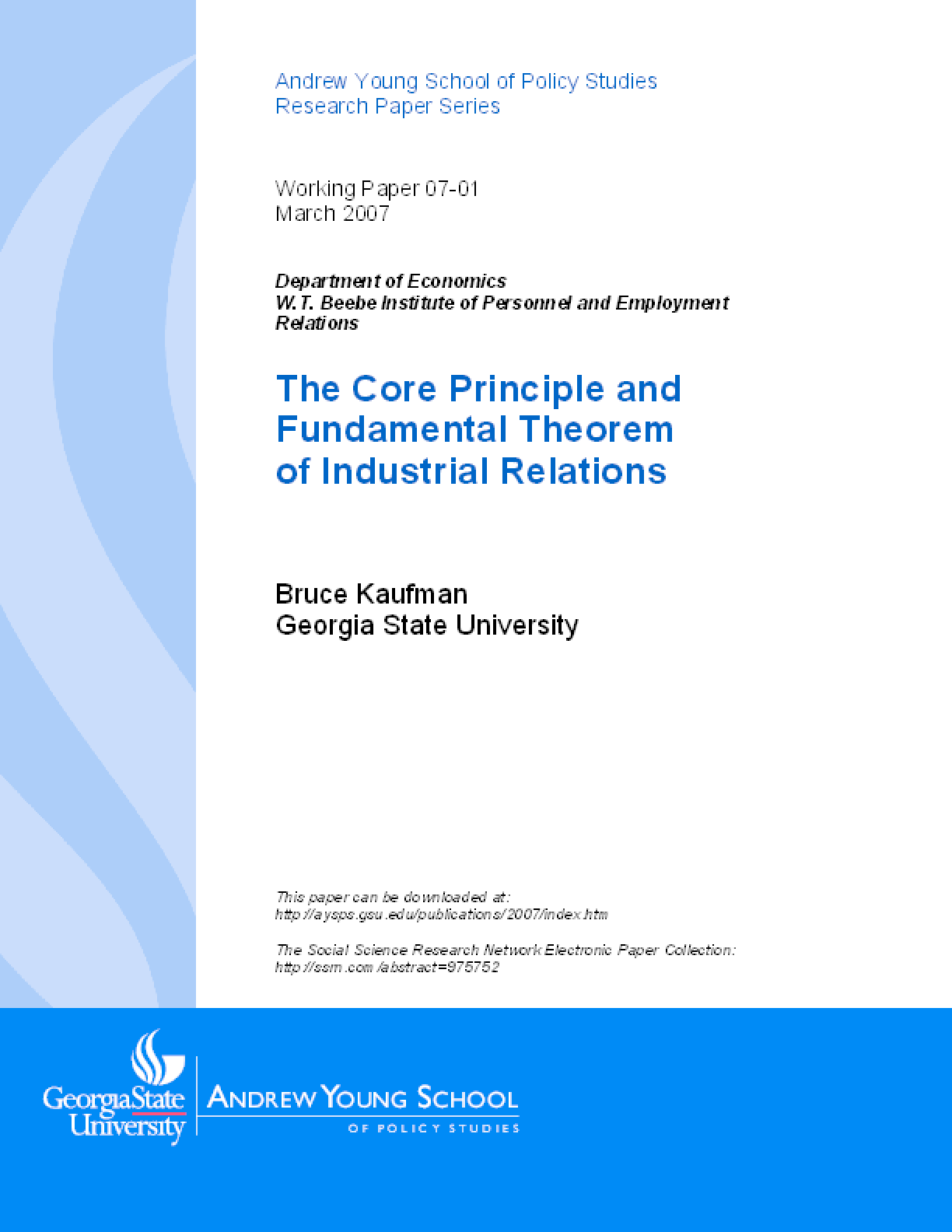 The Core Principle and Fundamental Theorem of Industrial Relations