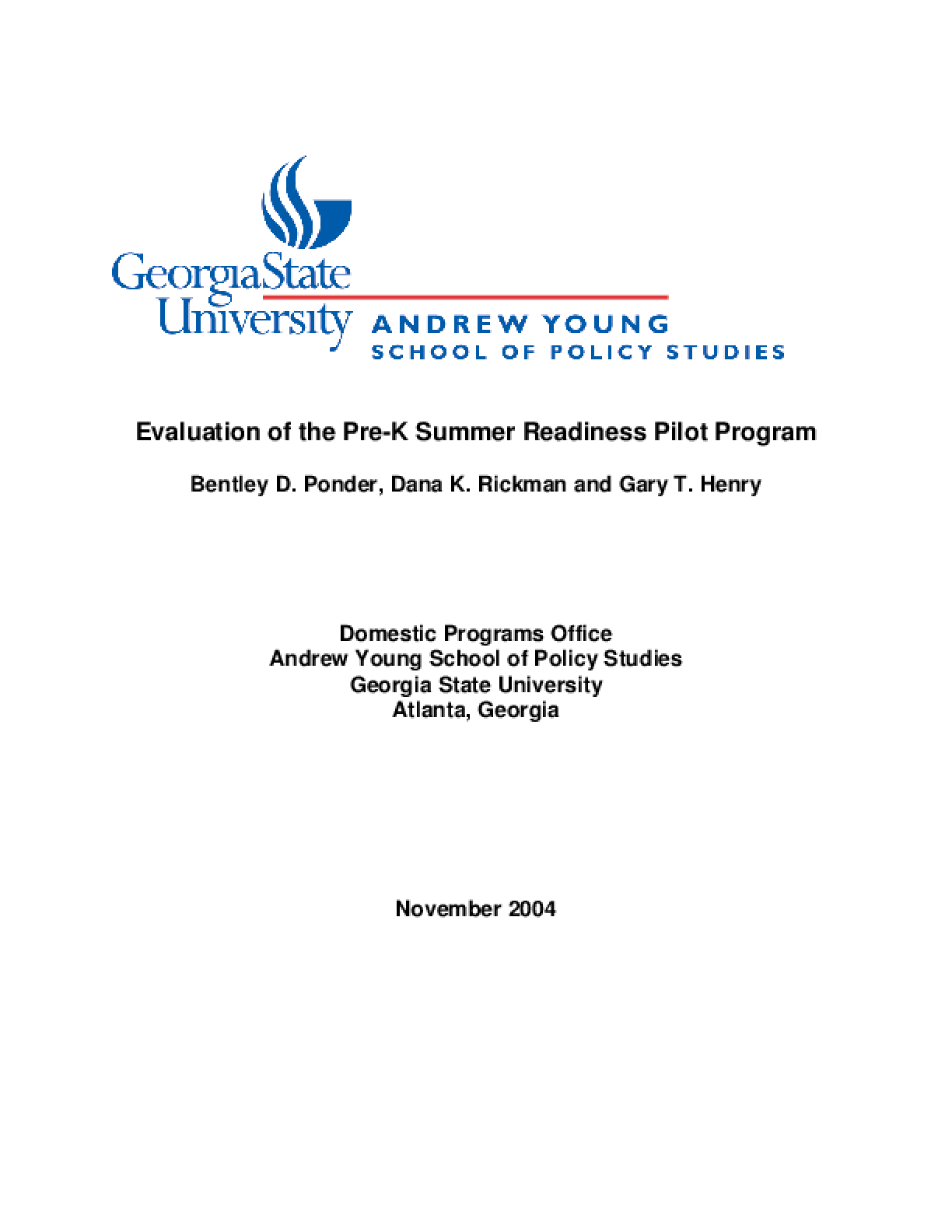 Evaluation of the Pre-K Summer Readiness Pilot Program