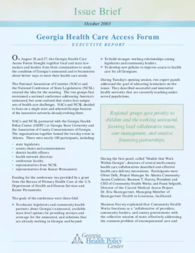 Georgia Healthcare Access Forum Issue Brief