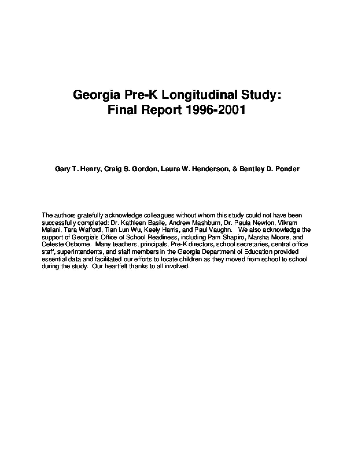 Georgia Pre-K Longitudinal Study: Final Report 1996-2001