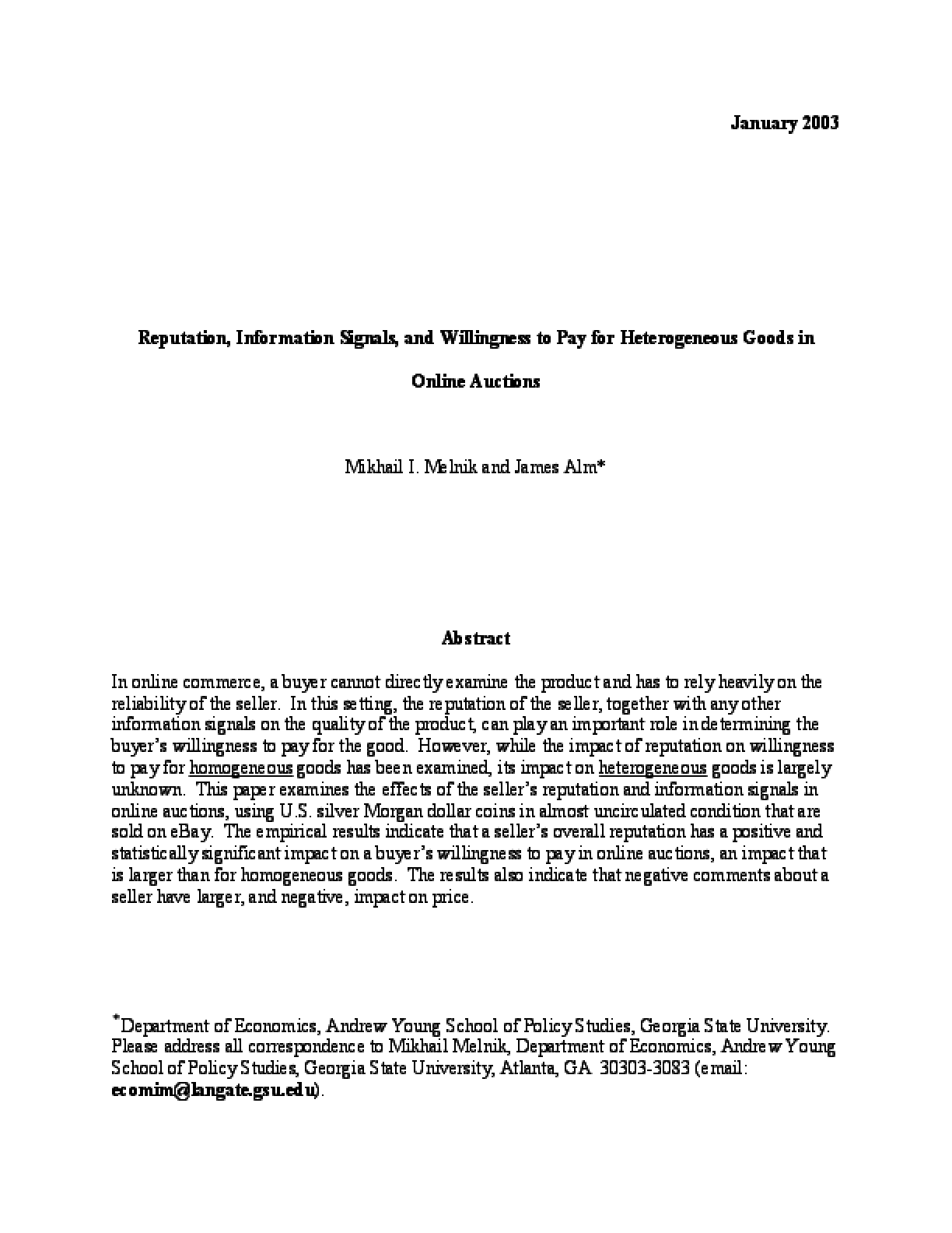 Reputation, Information Signals, and Willingness to Pay for Heterogeneous Goods in Online Auctions