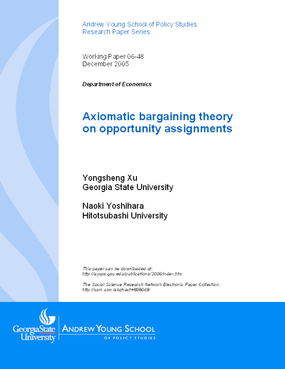 Axiomatic Bargaining Theory on Opportunity Assignments