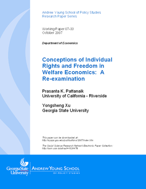 Conceptions of Individual Rights and Freedom in Welfare Economics: A Re-examination