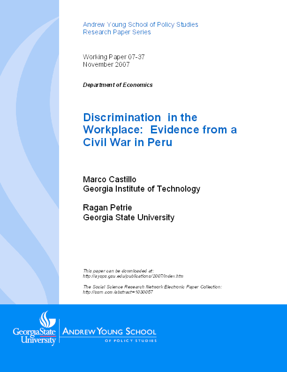 Discrimination in the Workplace: Evidence from a Civil War in Peru