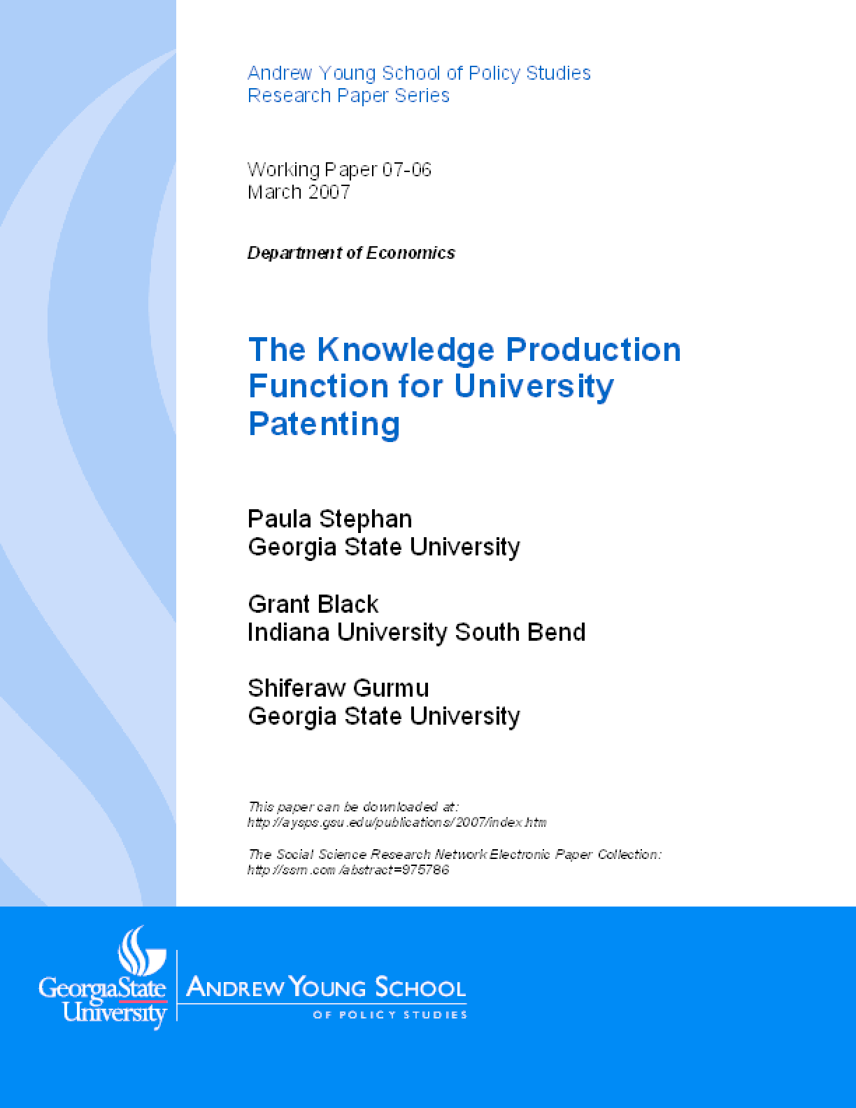 The Knowledge Production Function for University Patenting