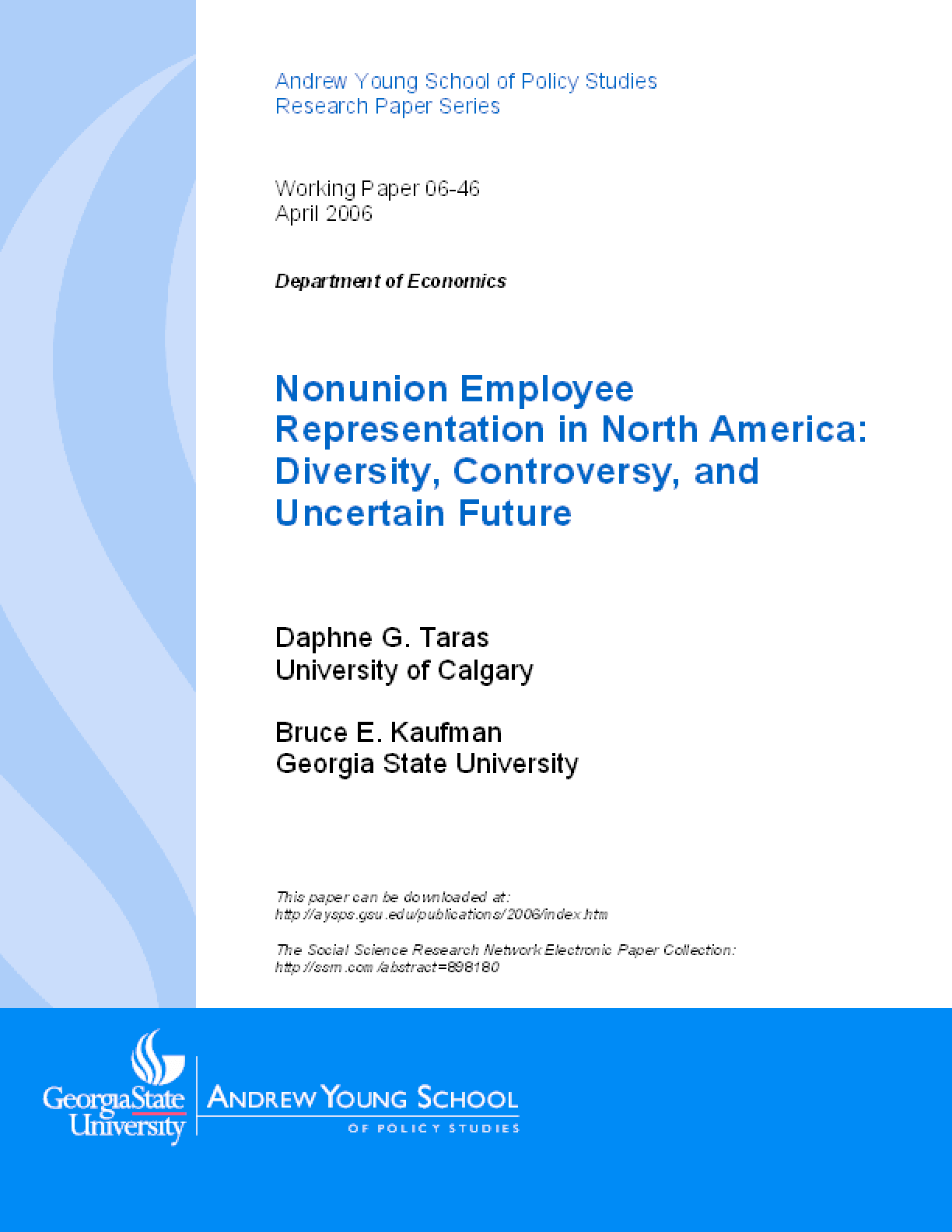 Nonunion Employee Representation in North America: Diversity, Controversy, and Uncertain Future