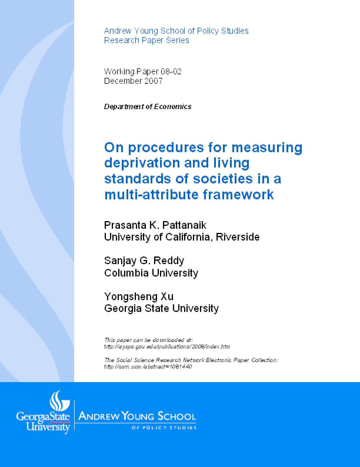 On procedures for measuring deprivation and living standards of societies in a multi-attribute framework