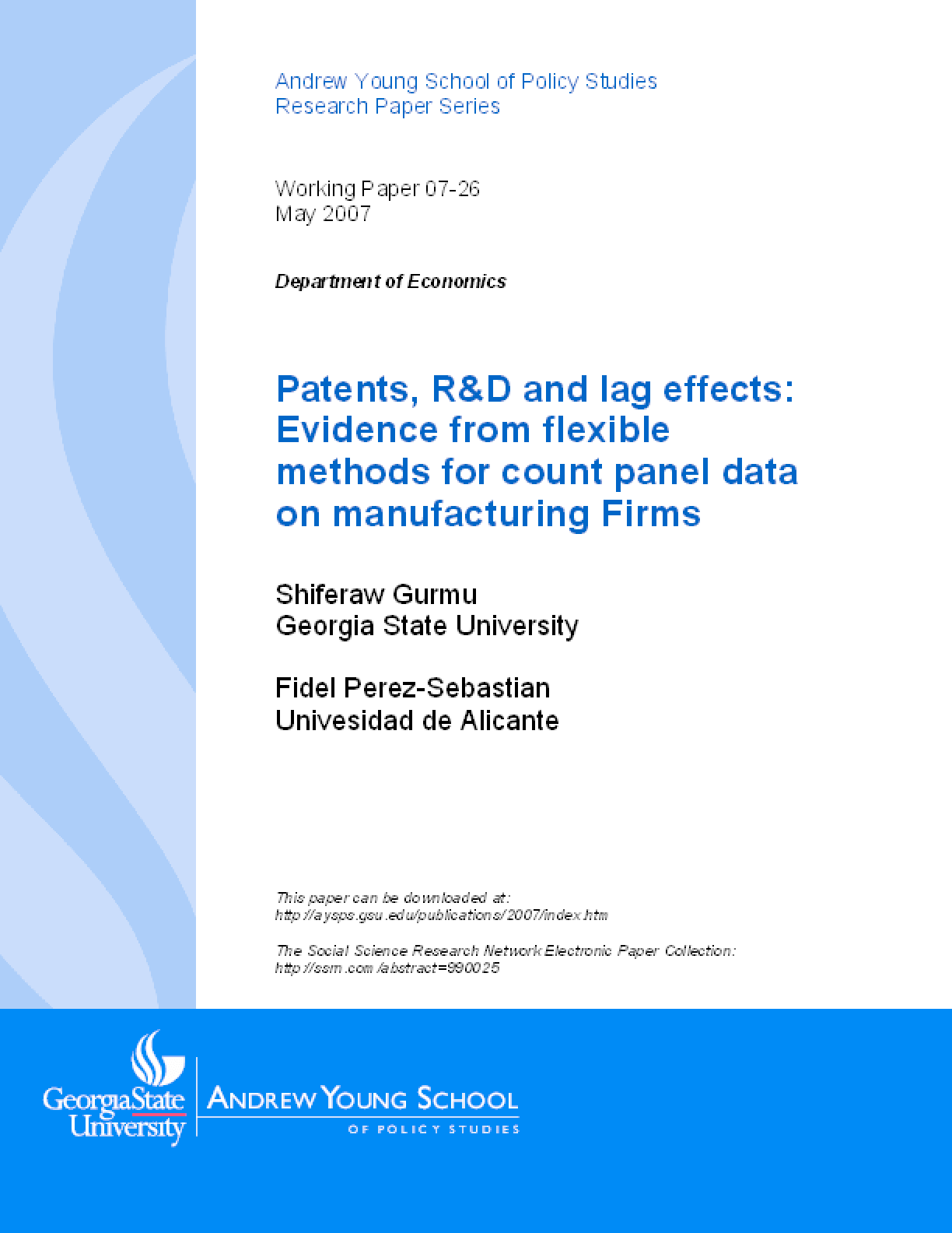 Patents, R&D and lag effects: Evidence from flexible methods for count panel data on manufacturing Firms