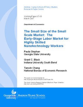 The Small Size of the Small Scale Market: The Early-Stage Labor Market for Highly Skilled Nanotechnology Workers