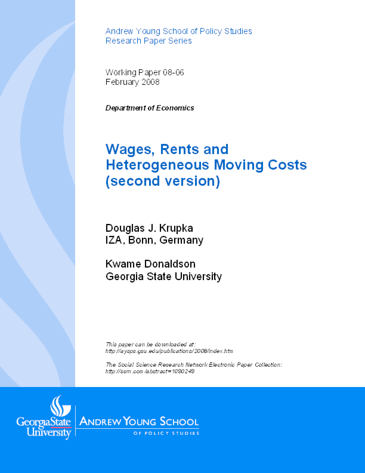 Wages, Rents and Heterogeneous Moving Costs (second version)