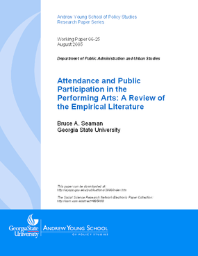 Attendance and Public Participation in the Performing Arts: A Review of the Empirical Literature
