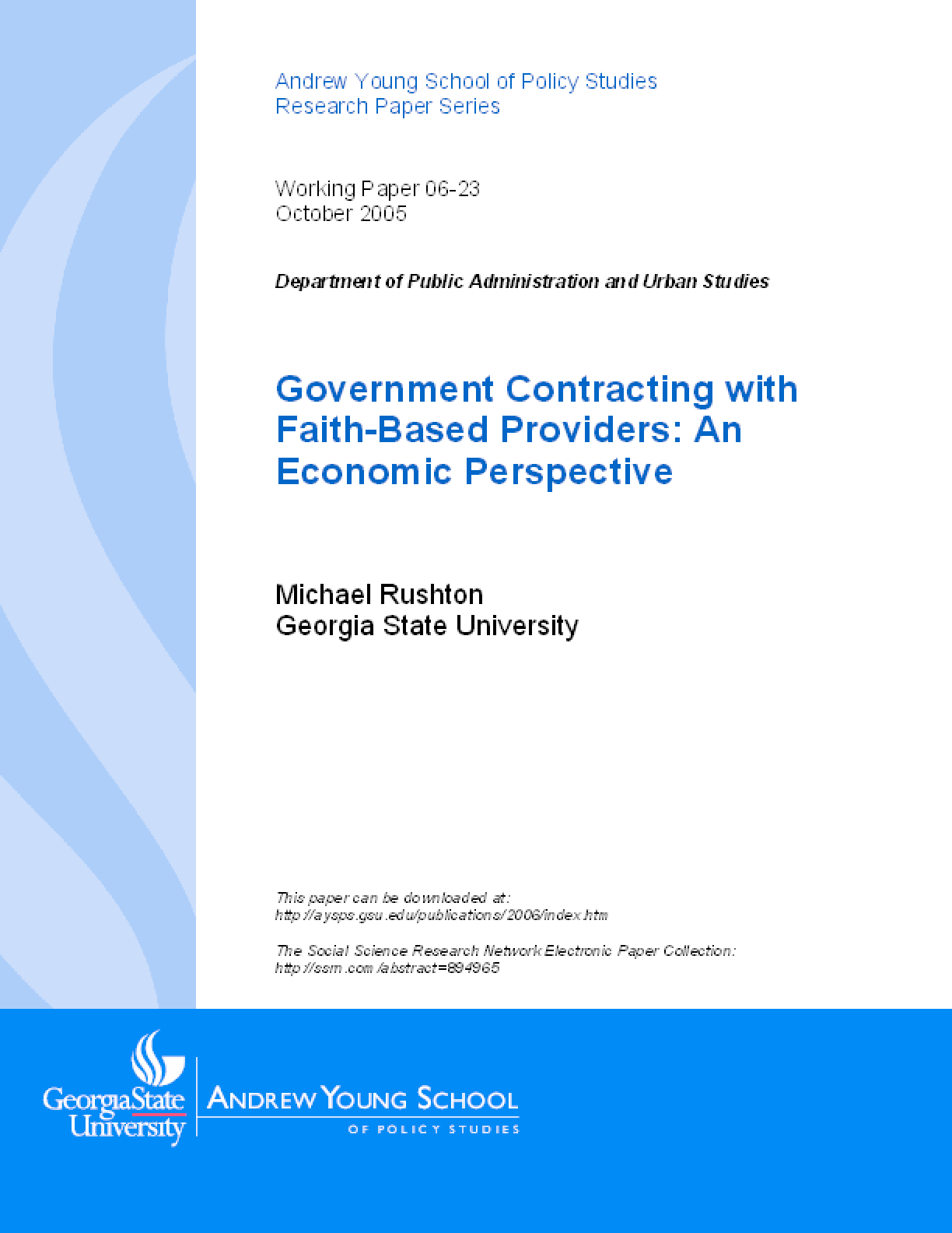Government Contracting with Faith-Based Providers: An Economic Perspective
