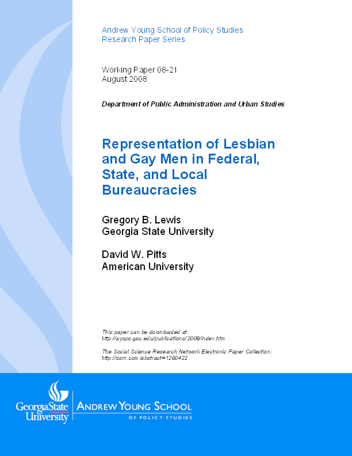 Representation of Lesbian and Gay Men in Federal, State, and Local Bureaucracies