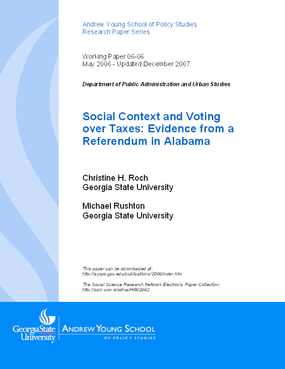 Social Context and Voting over Taxes: Evidence from a Referendum in Alabama
