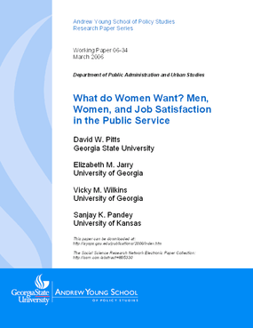 What do Women Want? Men, Women, and Job Satisfaction in the Public Service
