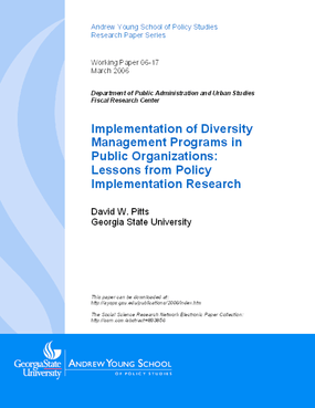 Implementation of Diversity Management Programs in Public Organizations: Lessons from Policy Implementation Research