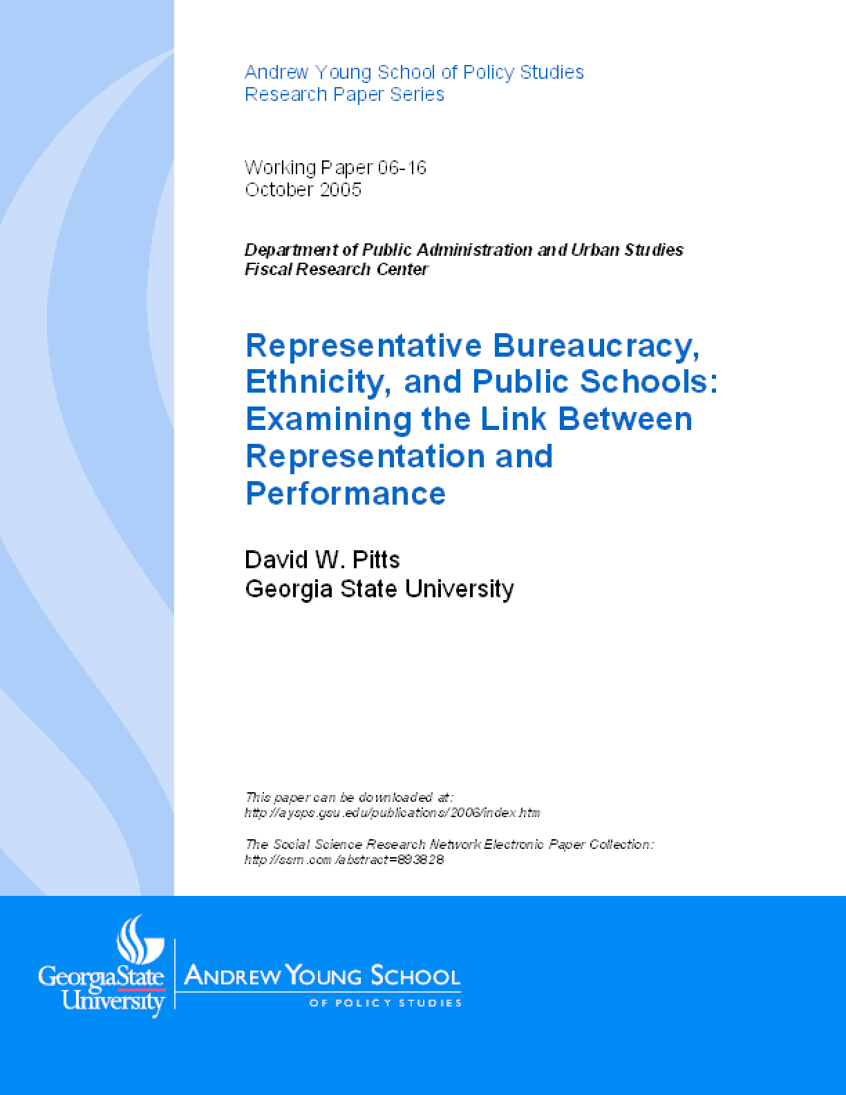 Representative Bureaucracy, Ethnicity, and Public Schools: Examining the Link Between Representation and Performance
