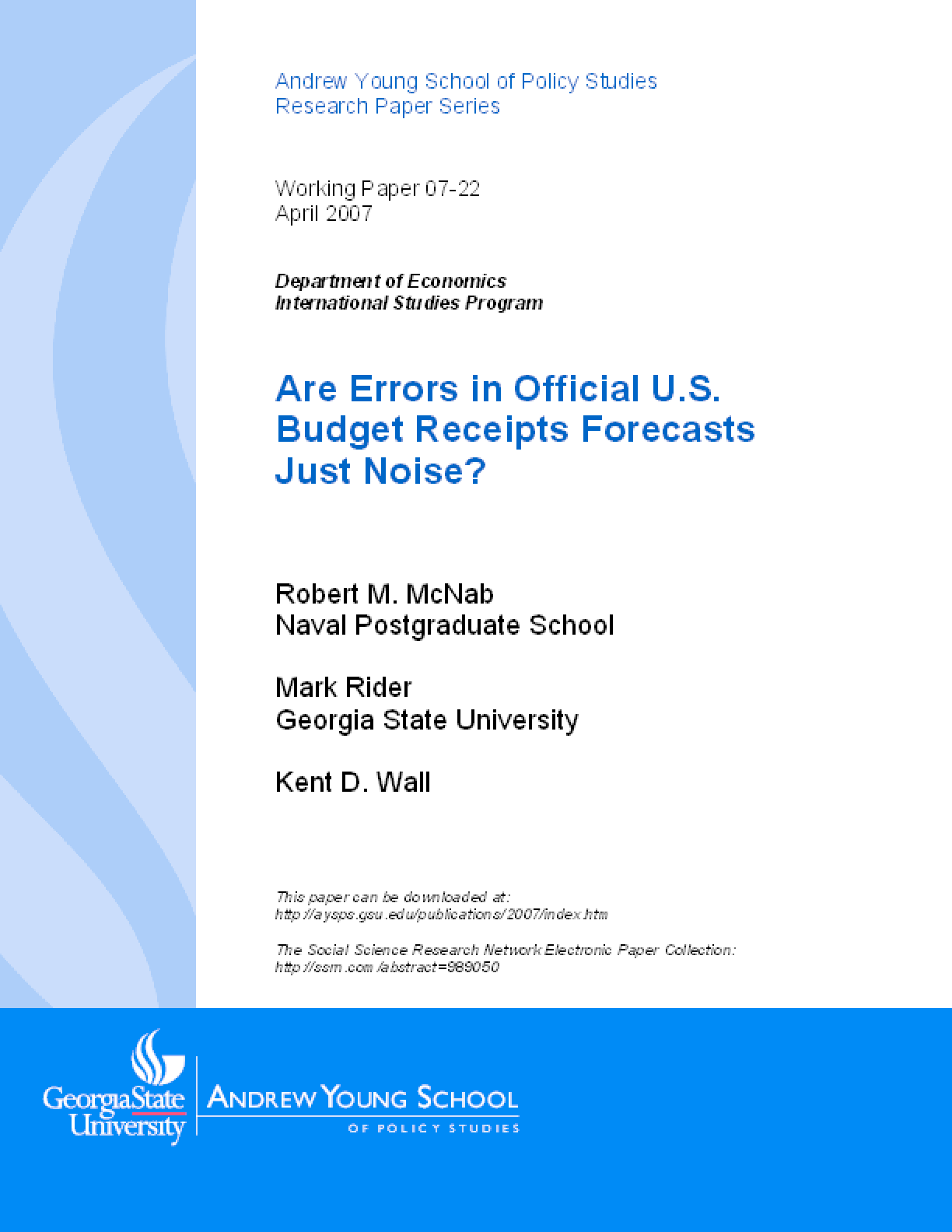 Are Errors in Official U.S. Budget Receipts Forecasts Just Noise?